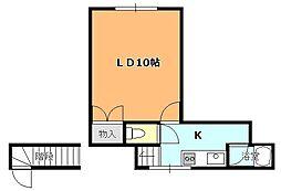函館市電5系統 昭和橋駅 徒歩7分の賃貸アパート 2階ワンルームの間取り