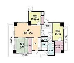 兵庫県神戸市北区東大池1丁目の賃貸マンションの間取り