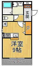 阪神本線 尼崎センタープール前駅 徒歩6分の賃貸アパート 3階1Kの間取り