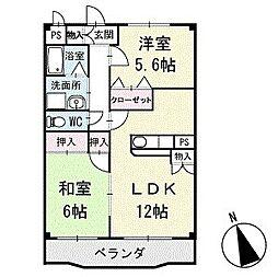 アメニティ大樹寺 壱号館 1階[102号室]の間取り