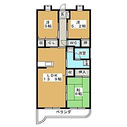 シャンテロード 富士見[1階]の間取り