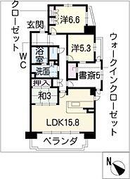 レジディア徳川[5階]の間取り