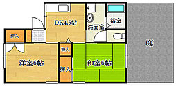 大阪府茨木市奈良町の賃貸アパートの間取り