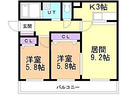 Agito北ノ沢 3階2LDKの間取り