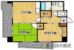福岡県福岡市東区筥松新町の賃貸マンションの間取り