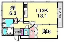 ルクール[1階]の間取り