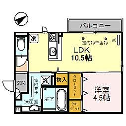 (仮)D-room四十万町[201号室]の間取り