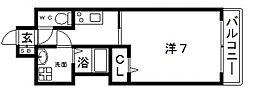 JR大阪環状線 寺田町駅 徒歩4分の賃貸マンション 8階1Kの間取り