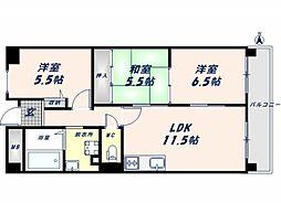 アンドユーイワキ 東大阪[6階]の間取り