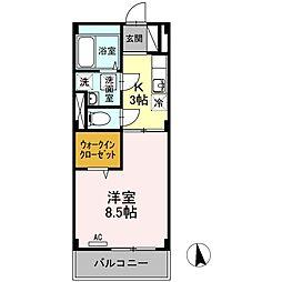 神奈川県相模原市緑区東橋本4丁目の賃貸マンションの間取り