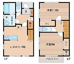 JR仙山線 北山駅 徒歩3分の賃貸アパート 1階2LDKの間取り