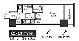 アドバンス西梅田ラシュレ[1408号室号室]の間取り