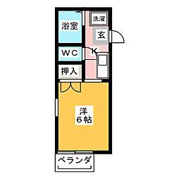 愛知県瀬戸市山口町の賃貸アパートの間取り