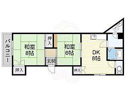 安田マンション 1階2DKの間取り