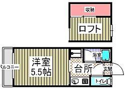 パピヨン2[201号室]の間取り
