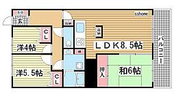兵庫県神戸市灘区森後町1丁目の賃貸マンションの間取り