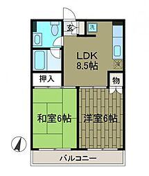 神奈川県相模原市南区東林間2丁目の賃貸マンションの間取り