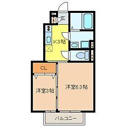 東京都町田市南成瀬4丁目の賃貸アパートの間取り