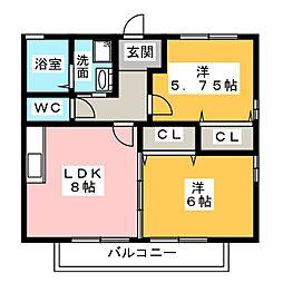 愛知県名古屋市中川区江松5丁目の賃貸アパートの間取り