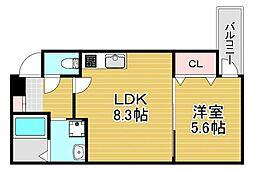 フジパレス若江岩田サウス 2階1LDKの間取り