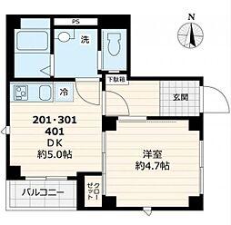 都営大江戸線 両国駅 徒歩6分の賃貸マンション 4階1DKの間取り
