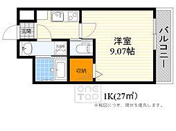 モダンアパートメント江坂町 8階1Kの間取り