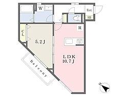 小田急江ノ島線 湘南台駅 徒歩19分の賃貸アパート 3階1LDKの間取り