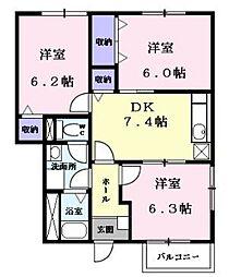 JR予讃線 宇多津駅 徒歩25分の賃貸アパート 1階3DKの間取り
