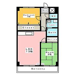 レビュー横山[1階]の間取り