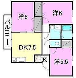フェイスフル五番館 B棟[102 号室号室]の間取り