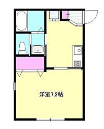 京王線 百草園駅 徒歩4分の賃貸アパート 1階1Kの間取り