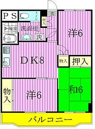 千葉県松戸市南花島2丁目の賃貸マンションの間取り