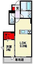 筑豊電気鉄道 楠橋駅 徒歩7分の賃貸アパート 1階1LDKの間取り