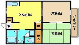 JR東海道・山陽本線 六甲道駅 徒歩10分の賃貸マンション 1階2DKの間取り