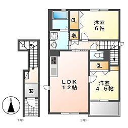 ディアコートK 6[2階]の間取り