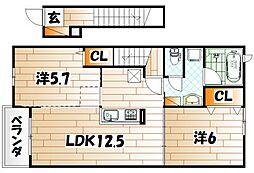 ディアコート苅田[2階]の間取り