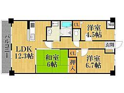 兵庫県西宮市甲子園六番町の賃貸マンションの間取り