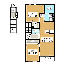 テンダーハウス 2階2LDKの間取り