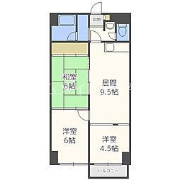 北海道札幌市豊平区平岸三条17丁目の賃貸マンションの間取り