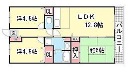 プランドール兵庫駅南通[404号室]の間取り