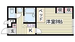 JR東海道・山陽本線 姫路駅 バス3分 平野南口下車 徒歩20分の賃貸アパート 1階1Kの間取り