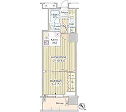 ユニゾンタワー 22階1LDKの間取り
