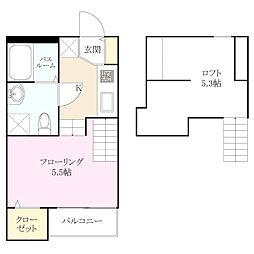 アパートメント友丘[2階]の間取り