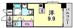 ジアコスモ神戸三宮 6階1Kの間取り