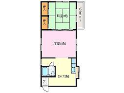 近鉄志摩線 中之郷駅 徒歩5分の賃貸アパート 2階2DKの間取り
