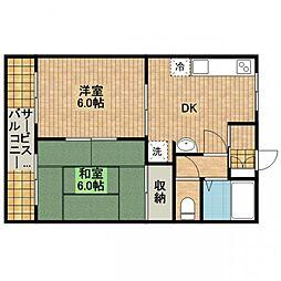 コーポ大ヶ谷戸[2−E号室]の間取り