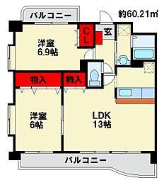 サニーキャッスルA[1階]の間取り