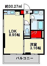 Ariga 10 D棟 2階1LDKの間取り