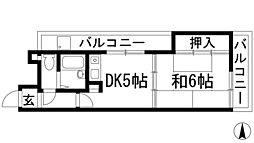 兵庫県宝塚市鹿塩2丁目の賃貸マンションの間取り
