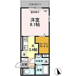 JR可部線 安芸長束駅 徒歩16分の賃貸アパート 2階1Kの間取り